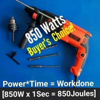 New 820 & 850 Watts Rotary Hammer Drill Professional [ Pic 2, 3 & 4 are the buyer's review after using the drill ]  Come with 3-Pin UK Plug 🚫🔌