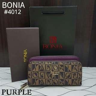 Bonia Double Zippy Wallet Violet Purple Color