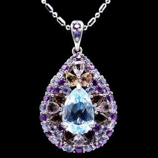 Beauty Swiss Blue Topaz Pendant with Necklace