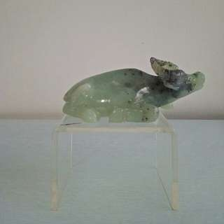 70s Jade stone carving buffalo height 6cm length14cm perfect condition