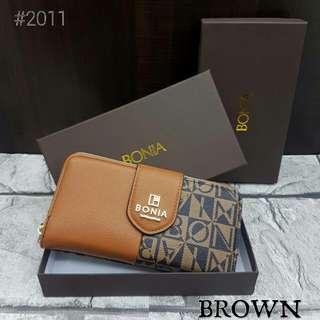 Bonia Flap Purse Brown Color
