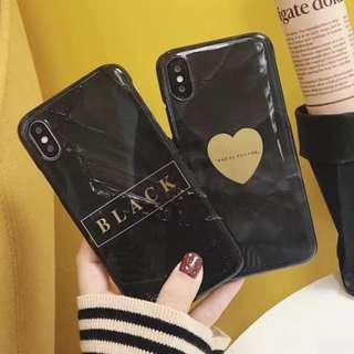 手機殼IPhone6/7/8/plus/X : 個性黑底愛人字母燙金半包硬殼