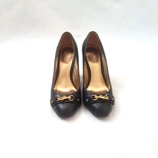 Coach navy leather 'desaree' block heels authentic | size 39