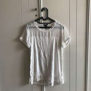 [NEW] H&M White Transparant Shirt