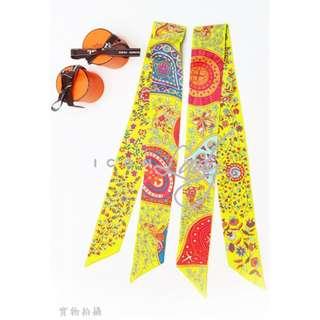 貨主降價!! 👏🏻👏🏻荀價靚貨😍😍 HERMES 青綠色/粉紅色/粉藍色 花花圖案 長形絲巾/手帕方巾/絲帶頭巾 (86 x 5 cm) (一對) 特價 : HK$2,500 --> --> 減至--> --> HK$2,080