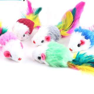 (PRE-ORDER) 10PCS IN 1 PACK SOFT FLEECE MOUSE CAT TOYS, COLORFUL FEATHER FOR CATS