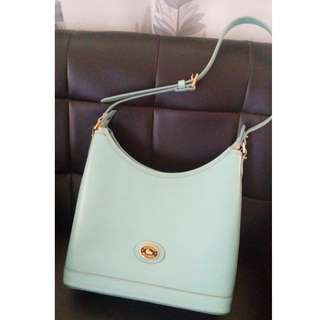DOONEY & BOURKE LIGHT TURQUOISE WITH WHITE STITCHING LEATHER HOBO STYLE PURSE