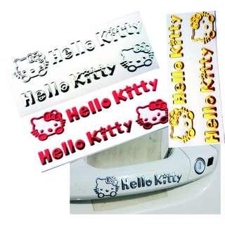 🚚 【三色-現貨】3D贴立體車貼KT猫-車飾凯蒂猫頭、KT猫立体贴3D-软胶贴卡通門把手贴、拉手贴汽車-車用精品