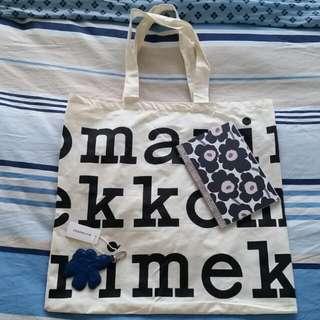 Marimekko Key Chain, Organic Cotton Bag and Notebook