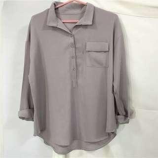 紫灰色厚雪紡上衣