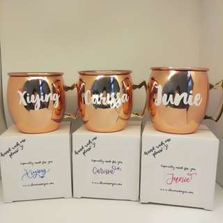 Name customised copper mugs