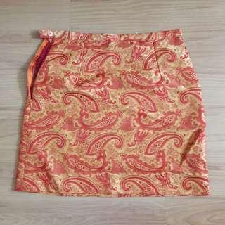 Orange printed pencil Mini-skirt