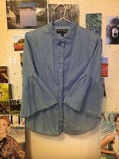 Miss Selfridge Denim look shirt with peplum sleeves