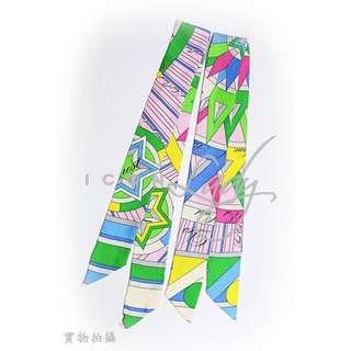 HERMES 粉紅色&粉藍色 六角星形圖形 長形絲巾/手帕方巾/絲帶頭巾 (86 x 5 cm) (一對)