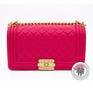 (NEW) Chanel A67086 Y07659 BOY LEBOY LAMBSKIN MEDIUM SHOULDER BAG GBHW, FUCHSIA / 2B932 全新 手袋 桃紅色 金扣
