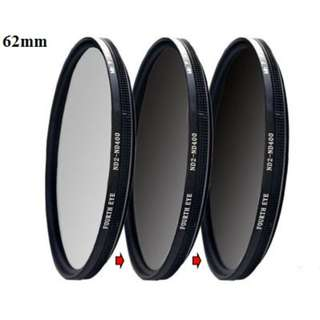 Variable ND filter 62mm (adjustable ND2 to ND400)