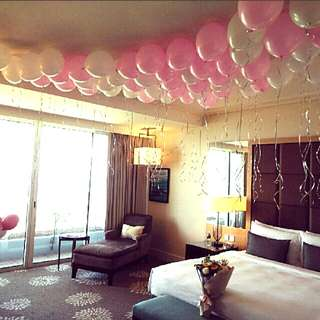 Hotel room surprise balloon decorations
