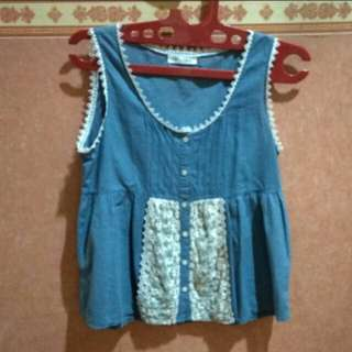 👕Denim Cotton Tank with Lace | Atasan Biru dengan Renda