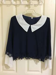 Navy blue cropped blouse
