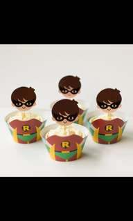 💥 Superheroes Justice League Robin party supplies - cupcake toppers wrappers / dessert deco
