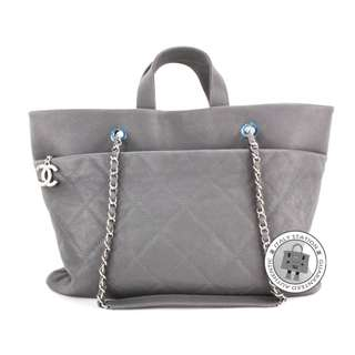 (NEW) Chanel A90485 Y0929 CC SHOPPING CAVIAR SHOULDER BAG SHW, GREY 全新 手袋 灰色 銀扣