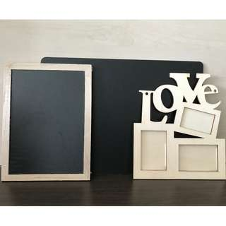 Chalkboards and photo frame for wedding