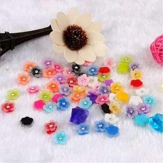 fashion nail art decoration kit/box resin acrylic 12 colors nail art peach blossom flower with glitter rhinestone