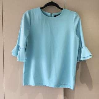 Blue Ruffled Sleeves Top
