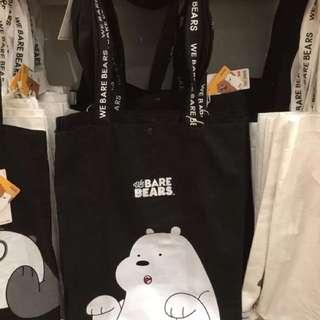 🚚 全新➿阿極黑底熊熊遇見你帆布包