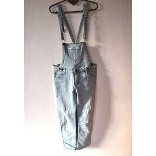 🚚 女韓版可拆式吊帶牛仔七分褲