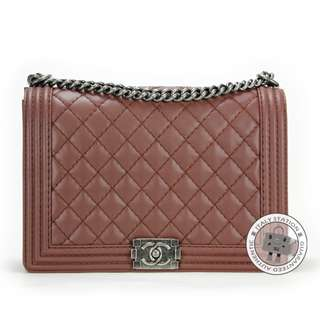(NEW) Chanel A67087 BOY CALFSKIN LARGE SHOULDER BAG SBHW, BURGUNDY 全新 手袋 啡色 銀扣