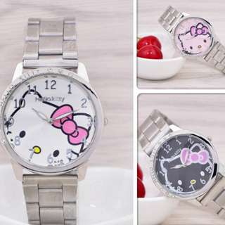 [FREE SHIPPING] Lady Cartoon Fashion Hello Kitty watch Student Cute Stainless steel strap watch