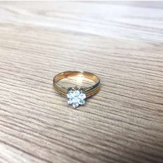Diamond Flower Ring with Triple Layer 14K Gold Band