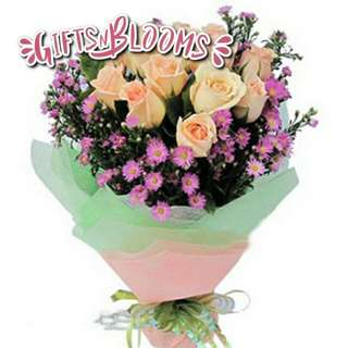 Fresh Flower Bouquet Anniversary Birthday Flower Gifts Graduation Roses Sunfowers Baby Breath -  21CB0