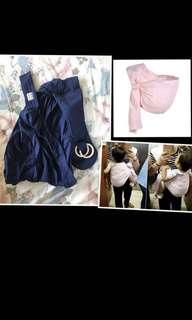 (包平郵)🈹💥🈹💥 Po & Jo 皮偌喬 brand 藍色 純棉背巾嬰兒背巾西爾斯育兒背巾雙環式新生兒橫抱式媽媽餵巾 揹帶