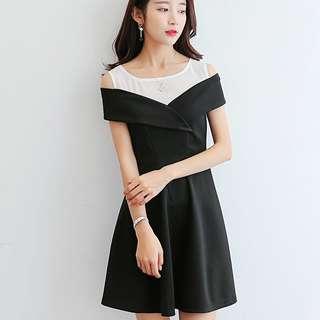 Two Coloured Korean Style Designed Strapless Trendy Dress