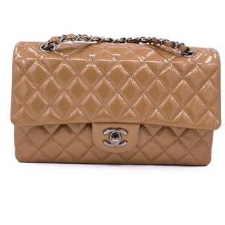 (NEW) Chanel  A01112 CLASSIC CC PATENT MEDIUM SHOULDER BAG SHW, COPPER METALLIC 全新 手袋 啡色 銀扣