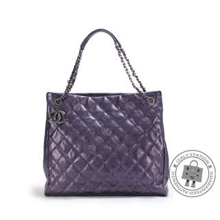 (NEW) Chanel A67389 CC SHOPPING BAG IN IRIDESCENT CALFSKIN SHOULDER BAG BKHW, METALLIC PURPLE 全新 手袋 紫色