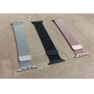 全新 Apple Watch 錶帶 黑色 銀色 玫瑰金 米蘭尼斯 Milanese Loop Apple Watch Band 42mm 38mm 非原裝