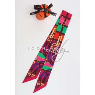 HERMES Mors a Jouets 紅色/ 紫紅色 長形絲巾 (一條)