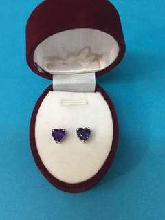No:0114. 14K金白色鑲天然紫晶石耳環6mm