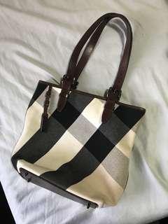 Burberry Mega Check Canvas/Leather Tote Bag