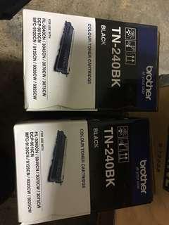 Brother printer toner tn240bk   2 pcs  free drum unit Remark I have used one k  number left 3 cmy