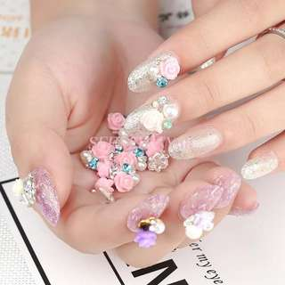 5pcs 3D alloy Nail art Decoration rose flowers with rhinestone Japanese series metal nail art Accessories retro Manicure Charms