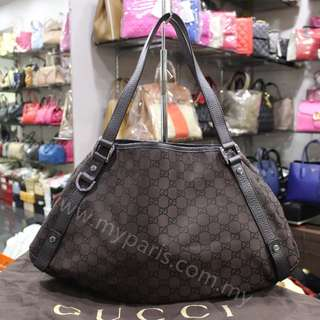 Gucci  Brown Canvas Abbey Hobo Bag