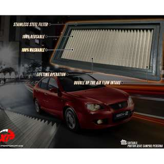 AIR FILTER DROP IN STAINLESS STEEL WASHABLE BLITZ PROTON GEN2 ALZA MYVI KANCIL GEN2 WIRA WAJA SAGA SATRIA