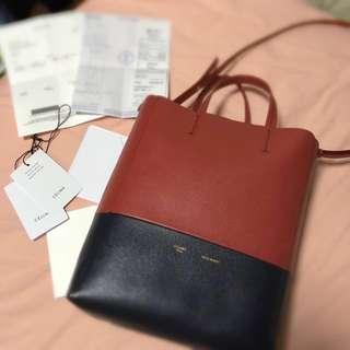 Celine small vertical bi cabas紅黑拼色大容量手提包水桶包