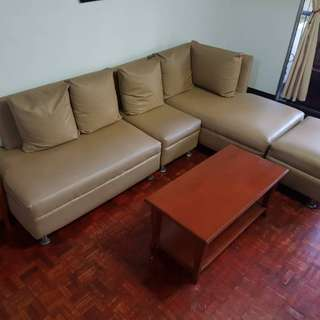 Sofa with Center Table and Side Table