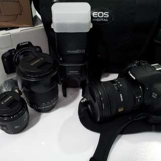 Canon 700D w Canon & Sigma Lenses Set