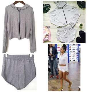 Athleisure Set : Soft Jersey Cotton Hoodie & Shorts